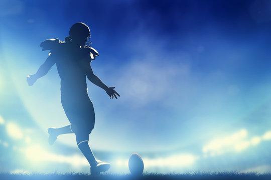 American football player kicking the ball, kickoff