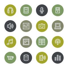 Media web icons set, color buttons