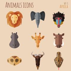 African Animal Portrait Set with Flat Design