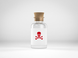 glass bottle with poison label