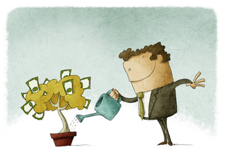Man taking care of her finances watering a money tree