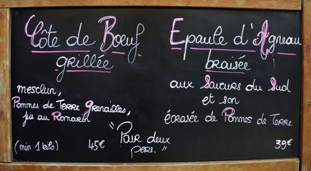 Outside menu sign