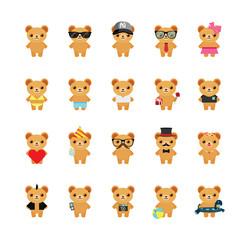 Teddy bear icons set. Illustration eps10