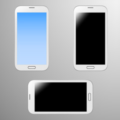 Realistic Illustrations of a white smart phone