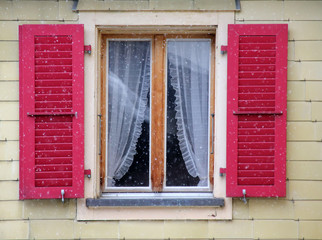 Traditional Austrian window at winter