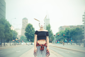 rabbit mask woman