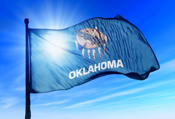 Oklahoma (USA) flag waving on the wind