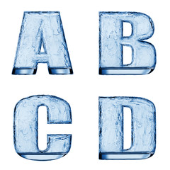 Letter of the alphabet. Water splash in a glass