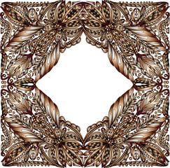 brown curled frame ornament illustration