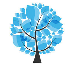 Beautiful Blue Tree on a White Background Vector Illustration. E