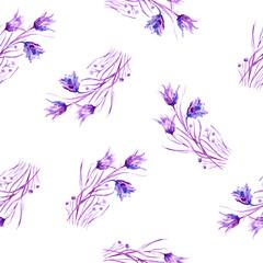 Floral seamless pattern. Campanula seamless pattern.