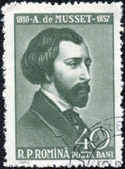 stamp printed in Romania shows Alfred de Musset