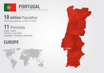 Wall Mural - Portugal World map with a pixel diamond texture.