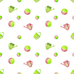 Seamless kids pattern with watering cans and balls on white