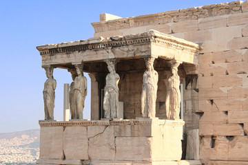 Porch of Caryatides in Erechtheum from Athenian Acropolis, Greec