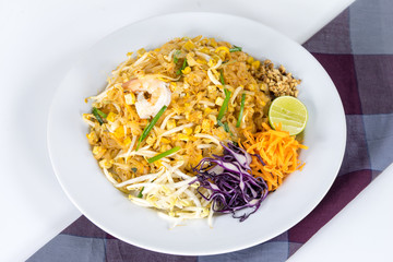 "Thai food Name ""Pad thai"" , Stir fry noodles with shrimp  and mi"