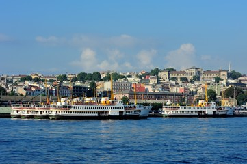 Old chersonese parts of Istanbul with classic steamer