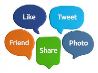 social media speech bubbles (like, tweet, friend, share, photo)