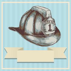Sketch illustration of a firefighter helmet in vintage color