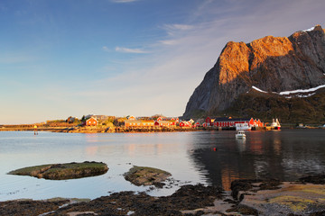 Wall Mural - fishing village on the coast of fjord on Lofoten islands in Nor
