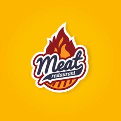 Retro barbecue grill flame label design concept