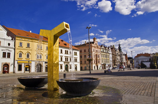 Golden fountain on the square in Pilsen