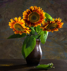 Beautiful sunflowers in a vase