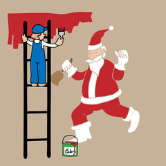Man on ladder painting Santa on wall