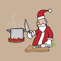 Santa cooking in kitchen