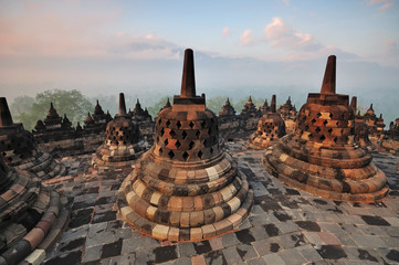 Foto op Canvas Indonesië Sunrise at Borobudur Temple Stupa Jogjakarta, Indonesia.