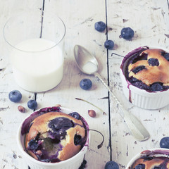 vintage polaroid of clafoutis with blueberries and milk