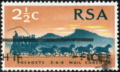 stamp printed in South Africa shows Mail Coach