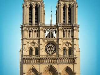 Fototapete - Notre Dame Cathedral on blue background, Paris, France
