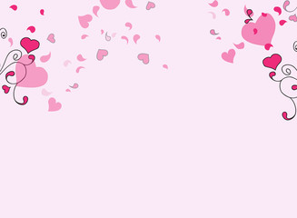 Hearts and swirls on on a light background