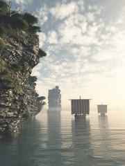Viking Longships in Unknown Waters
