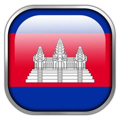 Cambodia Flag square glossy button