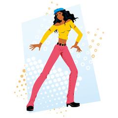 Afrodescendant funky beautiful girl happy dancing