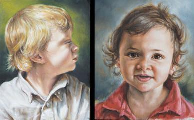dipinti di bambini realizzati con colori ad olio