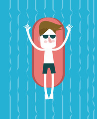 Young man relaxing on swimming pool. flat vector