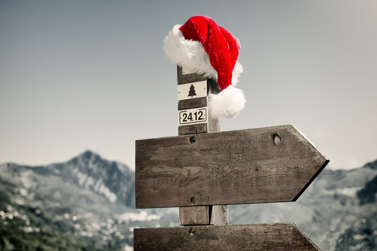 Signpost with Santa Hat