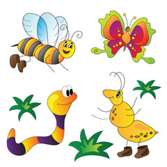 Vector illustration of colorful insects