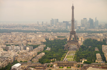 Landscape aerial view of Tour Eiffel on a cloudy day