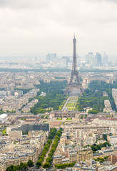 Eiffel Tower. Aerial view with cityscape