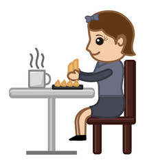 Woman Having Snacks and Coffee - Cartoon Vector