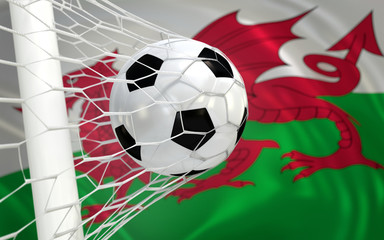 Flag of Wales and soccer ball in goal net