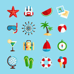 Holiday vacation icons set