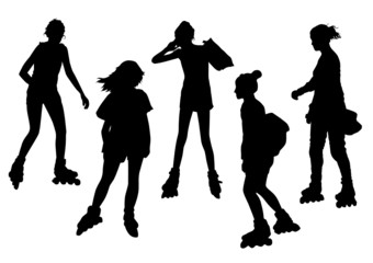 Girls on Roller Skates Silhouettes