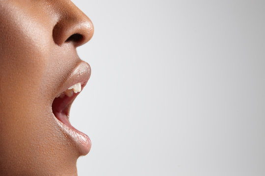 ideal woman's profile with open mouth