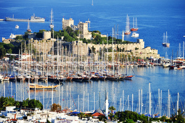 Printed roller blinds Turkey View of Bodrum harbor during hot summer day. Turkish Riviera