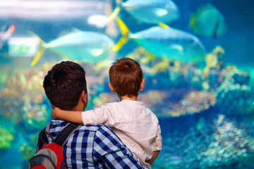 father and son in oceanarium Wall mural